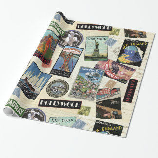 Modern Vintage Travel USA Wrapping Paper