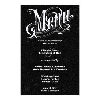 Modern Vintage Typography Chalkboard  Wedding Menu Stationery Design