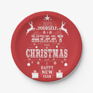 modern vintage typography christmas tree paper plate