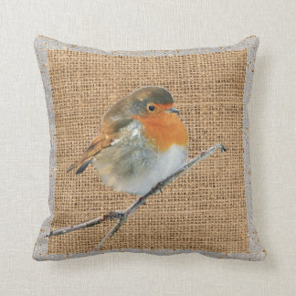 Modern Vintage watercolor Robin Bird burlap Throw Pillow