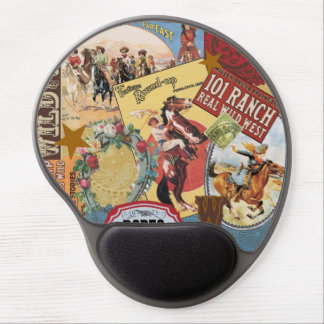 modern vintage western cowgirl gel mouse pads