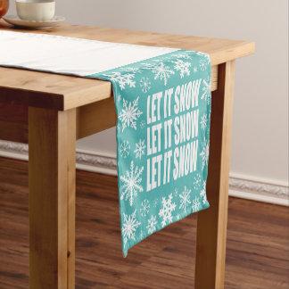 modern vintage whimsical snowflakes short table runner