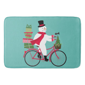 modern vintage whimsical snowman on bike bath mat