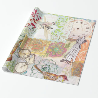 modern vintage whimsical wrapping paper