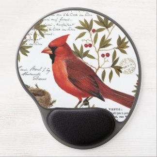 modern vintage winter cardinal gel mousepad