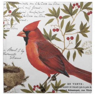 modern vintage winter cardinal napkin