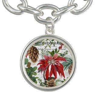 Modern vintage winter garden floral bracelet