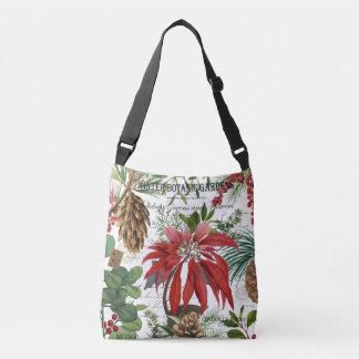 Modern vintage winter garden floral crossbody bag