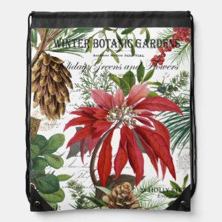 Modern vintage winter garden floral drawstring bag