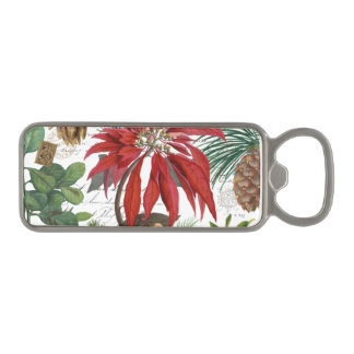 Modern vintage winter garden floral magnetic bottle opener
