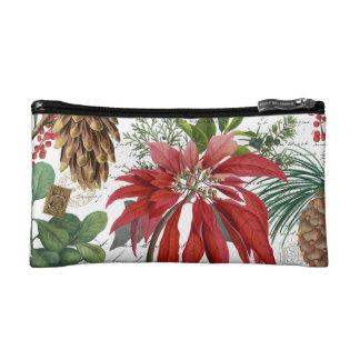Modern vintage winter garden floral makeup bag