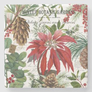 Modern vintage winter garden floral stone coaster