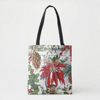Modern vintage winter garden floral tote bag
