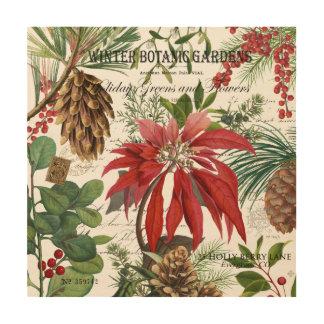 Modern vintage winter garden floral wood wall art