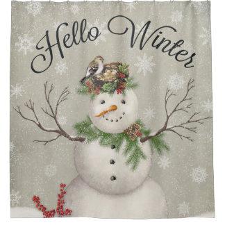modern vintage winter garden snowman