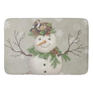 modern vintage winter garden snowman bath mat