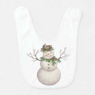 modern vintage winter garden snowman bib