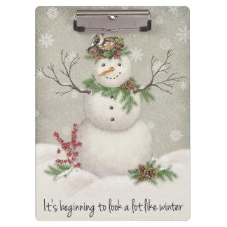 modern vintage winter garden snowman clipboard