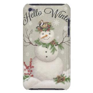 modern vintage winter garden snowman iPod touch Case-Mate case