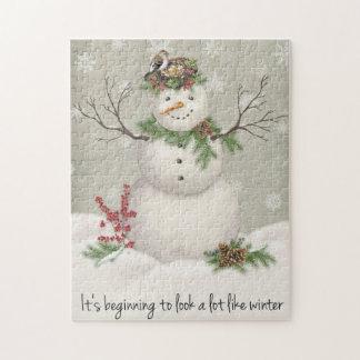 modern vintage winter garden snowman jigsaw puzzle