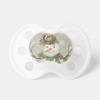 modern vintage winter garden snowman pacifier
