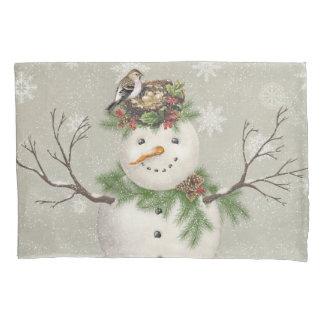 modern vintage winter garden snowman pillowcase
