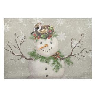 modern vintage winter garden snowman placemat