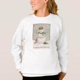 modern vintage winter garden snowman sweatshirt