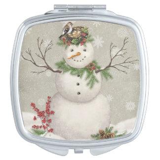 modern vintage winter garden snowman travel mirrors