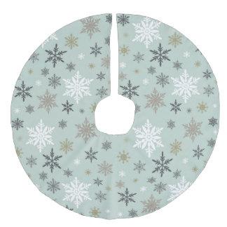modern vintage winter snowflakes faux linen tree skirt
