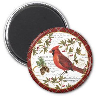modern vintage winter woodland cardinal magnet