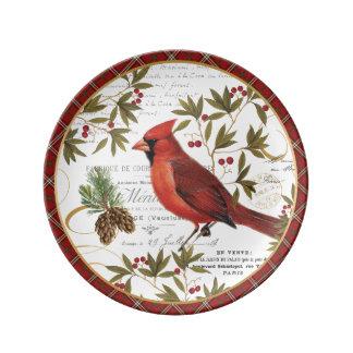modern vintage winter woodland cardinal porcelain plates
