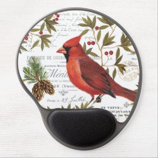 Modern vintage woodland cardinal gel mouse pad