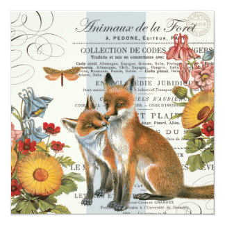 Modern vintage woodland fox card