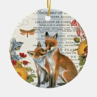 Modern vintage woodland fox ceramic ornament