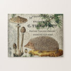 modern vintage woodland hedgehog jigsaw puzzle