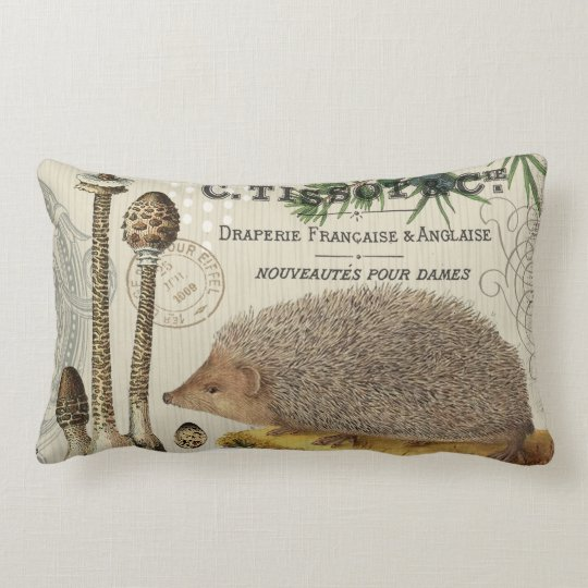 modern vintage woodland hedgehog lumbar pillow