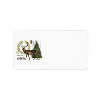 modern vintage woodland winter deer label