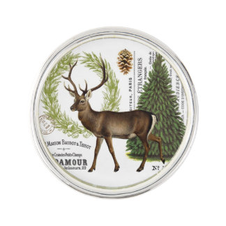 modern vintage woodland winter deer lapel pin