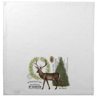 modern vintage woodland winter deer printed napkin
