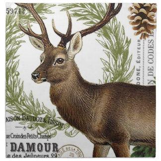modern vintage woodland winter deer napkins