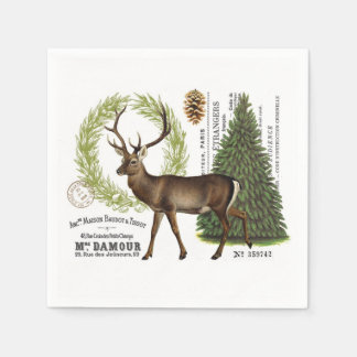 modern vintage woodland winter deer paper napkins