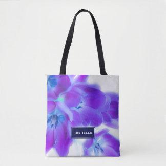 Modern Violet Floral Monogram Tote Bag