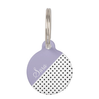 Modern violet geometric retro polka dots pattern pet tag