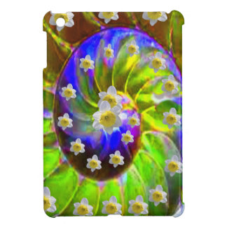 modern VIOLET GREEN GARDEN  SPIRAL &  DAFFODILS Cover For The iPad Mini