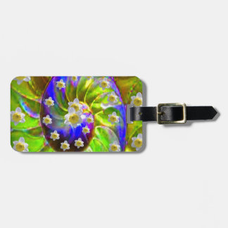 modern VIOLET GREEN GARDEN  SPIRAL &  DAFFODILS Luggage Tag