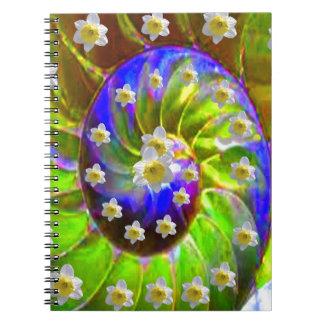modern VIOLET GREEN GARDEN  SPIRAL &  DAFFODILS Notebook