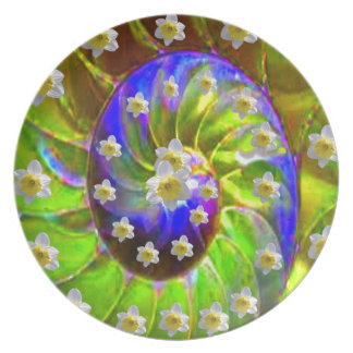 modern VIOLET GREEN GARDEN  SPIRAL &  DAFFODILS Plate