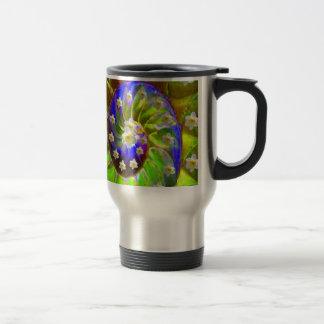 modern VIOLET GREEN GARDEN  SPIRAL &  DAFFODILS Travel Mug