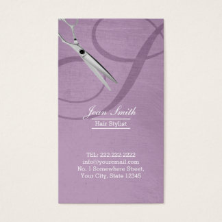Modern Violet Script Monogram Hair Stylist Business Card
